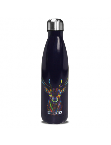 Bouteille Isotherme Duck'n 500ML Bleu Marine Motif Cerf Multicolore finition brillante